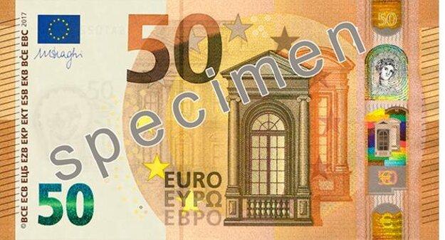 Líce novej 50 eurovej bankovky.