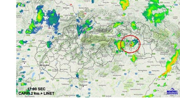 Pondelková búrka na radarovej mape.
