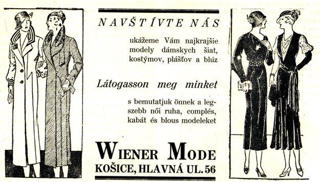 Obchod Wiener Mode - dobová reklama.