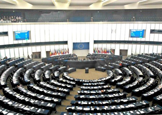 Rokovacia sála Európskeho parlamentu. Amfiteátrový priestor pojme 751 poslancov. Prejav každého z nich sa tlmočí do 24 úradných jazykov Európskej únie, vrátane slovenského. Sledovať rokovanie poslancov môže verejnosť z horných radov. V čase našej návštevy bola sála z väčšej časti prázdna.