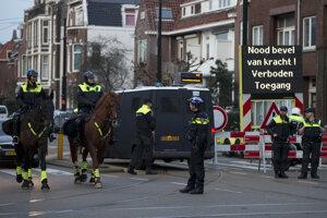 Policajná blokáda v Rotterdame.