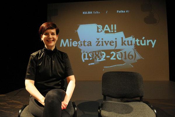 Zuzana Duchová na krste knihy BA!! Miesta živej kultúry (1989-2016).