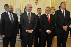 Schulz, Van Rompuy, Regling a Wiersma.