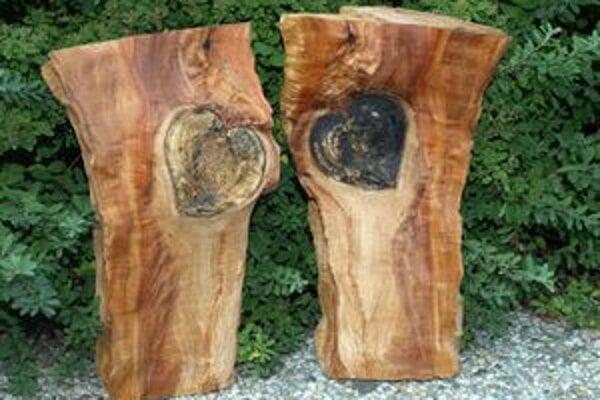 Uprostred dreva z kmeňa jablone je súmerné srdce.