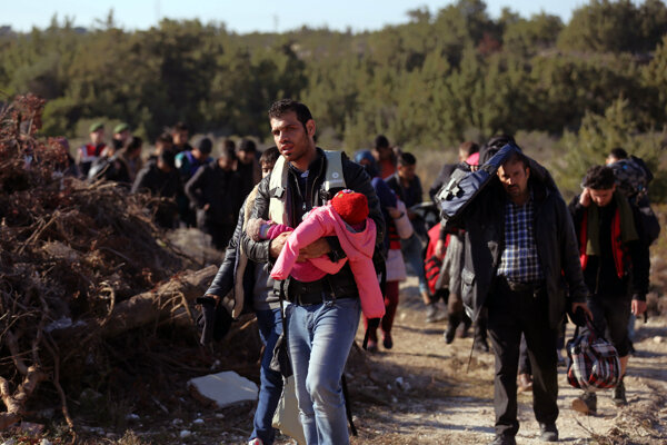 Migranti na gréckom ostrove Chios.
