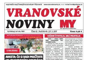 Titulná strana týždenníka MY Vranovské noviny, 3. 4. 2017.