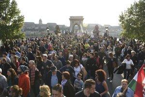 Nedeľný protest proti obmedzovaniu akademickej slobody, ktorá hrozí Stredoeurópskej univerzite v Budapešti.