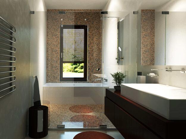Šikovne vyriešená kúpeľňa poskytujúca veľký sprchový kút, dve umývadlá, vaňu s výhľadom z okna pri relaxácii pri kúpaní a nechýba ani výhrevný rebrík na uteráky