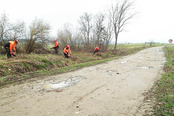 Chlapci zlesníckeho učilištia čistili minulý týždeň rigoly od krovín.