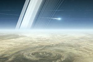 Vizualizácia Veľkého finále - sonda Cassini sa rozpadá po vstupe do atmosféry Saturnu 15. septembra 2017.