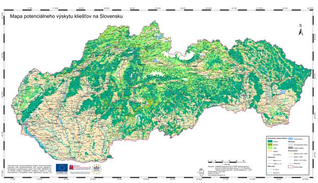 Mapa potenciálneho výskytu jedného z druhov kliešťa - kliešťa obyčajného. Preklikom otvoríte detailnú mapu - veľkosť 8MB.