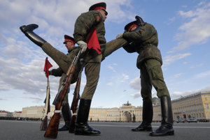 Nácvik vojenskej prehliadky v Moskve.
