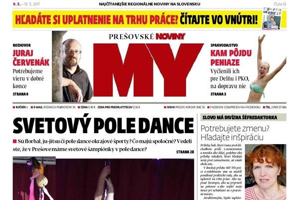 Titulná strana týždenníka MY Prešovské noviny č. 18/2017.