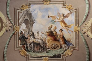 Izba Márie Terézie. Vyobrazenie triumfálneho sprievodu panovníkov Márie Terézie a Jozefa II.