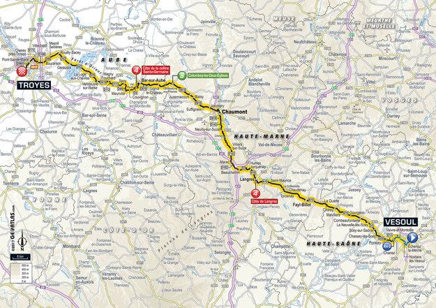 Mapa šiestej etapy Tour de France 2017.