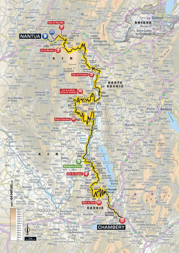 Mapa deviatej etapy Tour de France 2017.