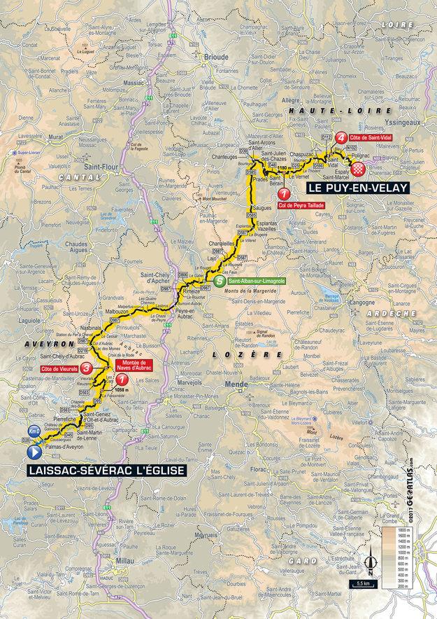 Mapa pätnástej etapy Tour de France 2017.