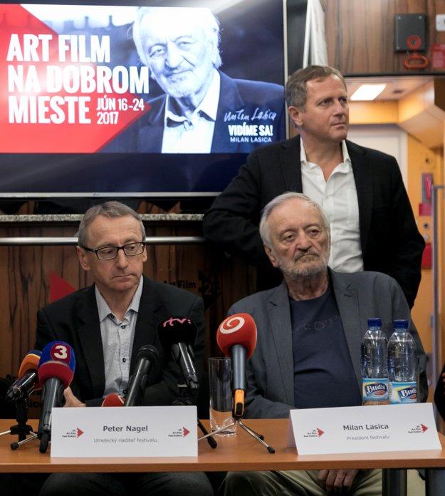 Organizátori festivalu. P. Nagel, M. Lasica, J. Kováčik.