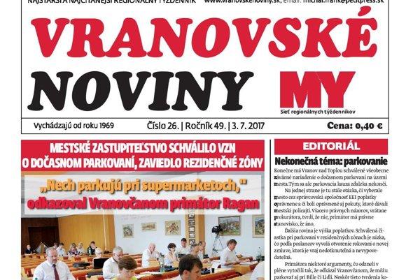 Titulná strana týždenníka Vranovské noviny č. 26/2017.