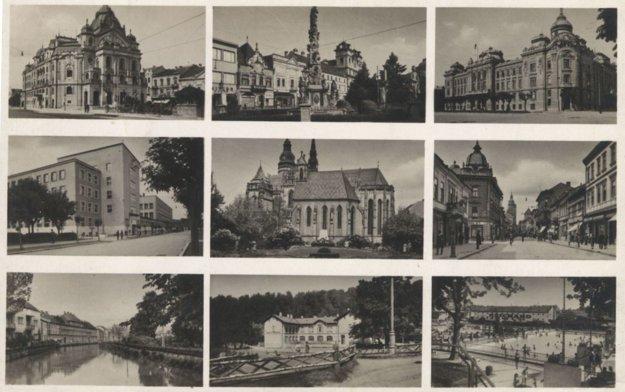 Fotografie turistických atrakcií na dobovej pohľadnici Košíc.