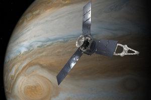 Vizualizácia Juno pri Veľkej červenej škvrne.