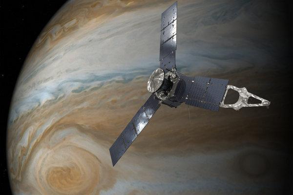 Vizualizácia sondy Juno pri Jupiteri.