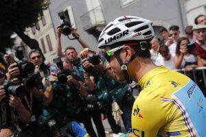 Talian v žltom - Fabio Aru - pred štartom 13. etapy.