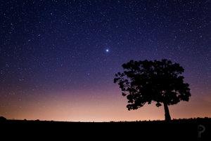Jupiter na nočnej oblohe.