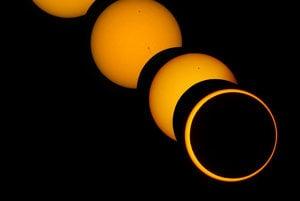 Mesiac raz nebude vedie prekryť Slnko. Záber ukazuje fázy čiastočného a prstencového zatmenia Slnka.