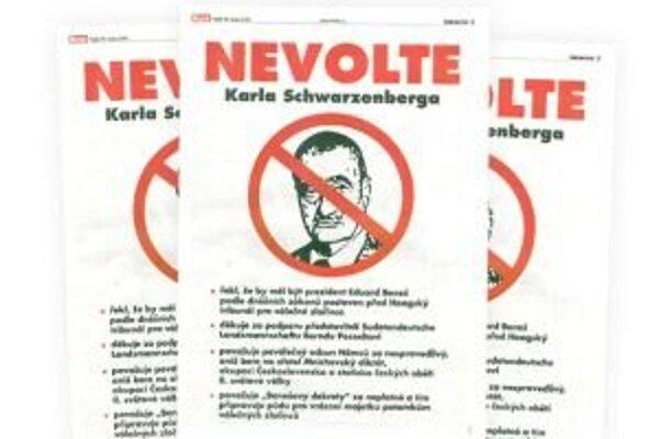 Inzerát NEVOLTE Karla Schwarzenberga, ktorý vyšiel v piatkovom vydaní českého denníka Blesk.