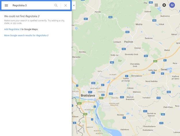 Vyhľadávač nedokáže nájsť ulicu s názvom Regrútska 3, kde má sídliť cudzinecká polícia od konca roka.