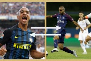 Zaujímavá výmena na linke Miláno - Paríž. Joao Mario (vľavo) by z Interu Miláno mohol namieriť do PSG, na druhú stranu by šiel Lucas Moura.
