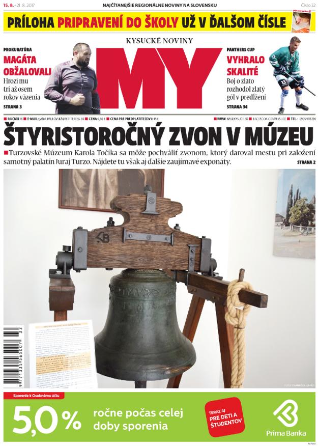 Najnovšie číslo MY Kysuckých novín si kúpite už v utorok 15. augusta.