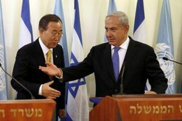 Generálny tajomník OSN Pan Ki-Mun a izraelský premiér Benjamin Netanjahu.