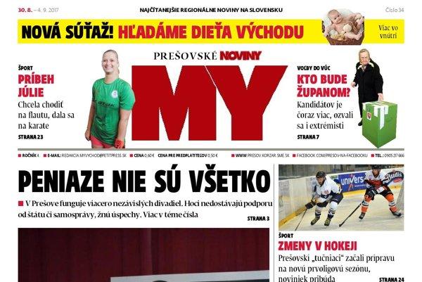 Titulná strana týždenníka MY Prešovské noviny č. 34/2017.