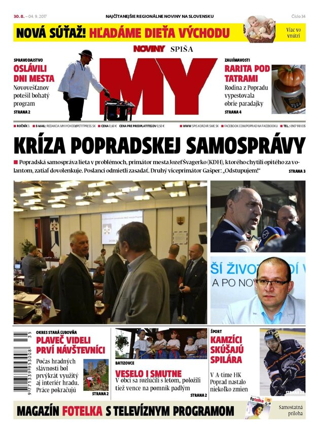 Titulka 34. čísla MY Novín Spiša.