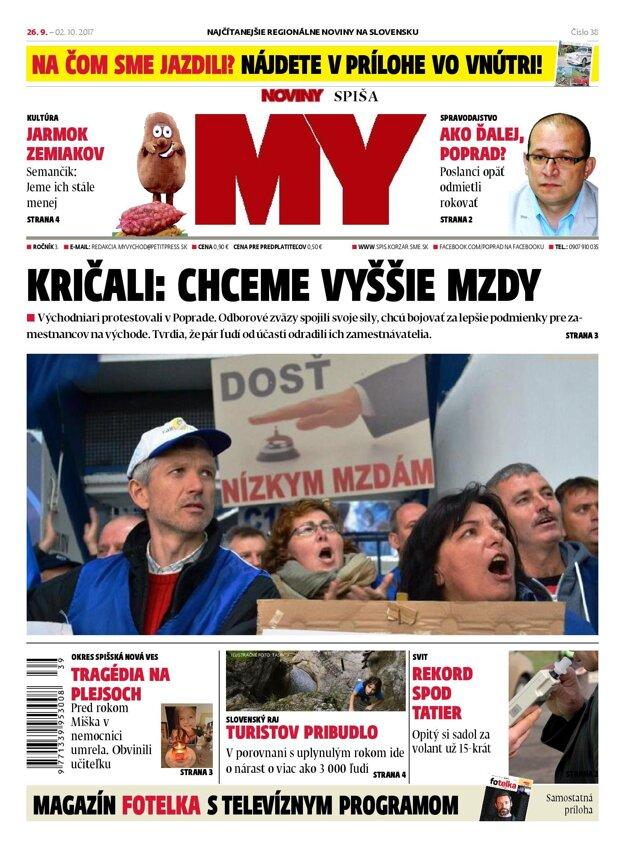 Nová titulka MY Noviny Spiša.
