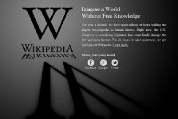 Takto v stredu vyzerala na protest stránka Wikipédie.