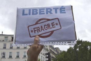 Sloboda je krehká, odkazuje jeden z francúzskych demonštrantov.