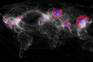 Teoretické šírenie epidémie chrípky, ktoré môže ohroziť celosvetovú populáciu. Farby predstavujú regióny, ktoré sú v súčasnosti infikované sezónnou chrípkou (červená), imúnne voči pandémii (fialové) a náchylné na novú pandémiu  (modrá). Biele čiary zobrazujú globálnu leteckú sieť.