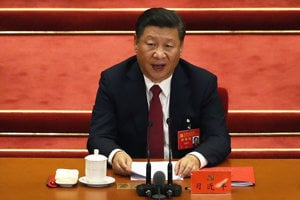 Čínsky prezident Si Ťin-pching na zjazde strany.