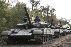 Tanky ukrajinskej armády v v Doneckej oblasti.