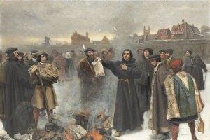 Luther spálil pápežskú bulu na námestí vo Wittenbergu.
