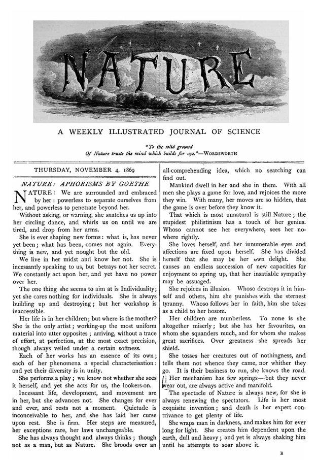 Titulná strana prvého vydania magazínu Nature.