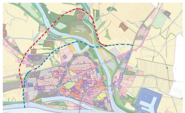 Vizualizácia variantov obchvatu: modrá čiara – cesta vedúca kmŕtvemu ramenu Váhu podľa starého územného plánu, červená - nové, alternatívne riešenie cesty, vedúcej širokým oblúkom severným smerom.