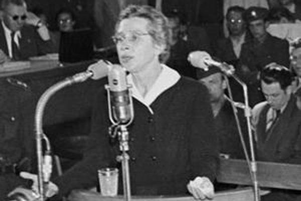 Milada Horáková počas procesu.