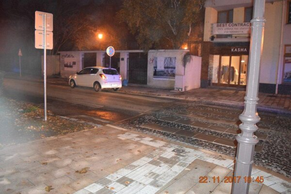 Halenárska ulica, miesto kolízie.