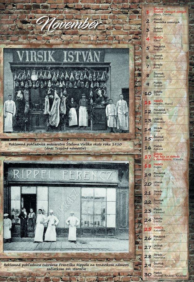 V kalendári sú zaujímavé aj reklamné pohľadnice trnavských obchodníkov.