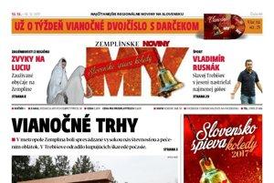 Titulná strana týždenníka MY Zemplínske noviny č. 49/2017.