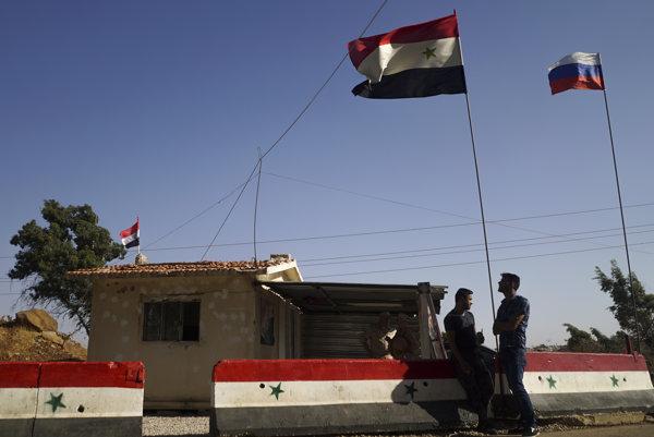 Kontrolné stanovištie v sýrskom Homse, ktoré majú na starosti Rusi.